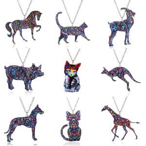 2018 Acryl Tierhalskette Haustier-Katzen-Drachen Schwein Vogel Wolf Pferd Fisch Hundehalsketten-Frauen Schmuck Anhänger Einhorn