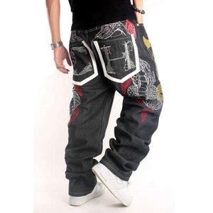 Hip Hop Mens all'ingrosso Jeans larghi per Street Danza Skateboard Loose Fit ricamo di alta qualità taglie da 30 a 46 Hot Rock Revival