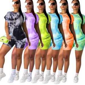 Été Femmes Shorts Traksuit à manches courtes T-shirt + Tops Shorts 2 Piece Set Contraste couleur T-shirt Vêtements Costume Design Casual