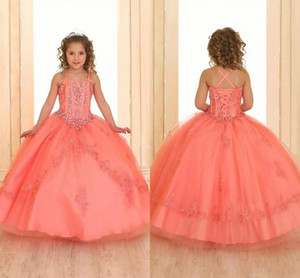 Coral Crystals Beaded Girls Pageant Dresses 2019 Sleeveless Lace Organza Flower Girl Dresses Corset Back Pageant Gowns For Teens