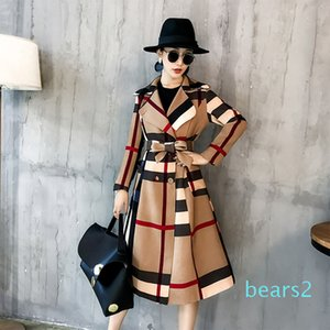 Winter Women Vintage Lattice Slim Long Plaid Coatprinted Warm Women Double Breasted Coat Casaco Sobretudo Feminino Trench XM01