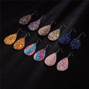 Women Dangle & Chandelier paillette double-sided sequin earrings shiny drop earrings leaves designer sequin earrings 6 pairs 1lot wholesale