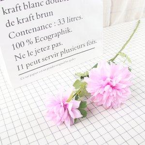 2 têtes simulation fleur de dahlia bouquet de soie artificielle pour le mariage fenêtre de maison décoration afficher soie dahlia fleur
