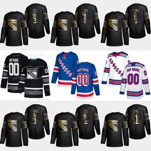 2019 Ouro Preto Nova Iorque Rangers 1 Eddie Giacomin 11 Vic Hadfield 9 Andy Bathgate 7 Rod Gilbert 3 Harry Howell 2 Brian Leetch Jersey