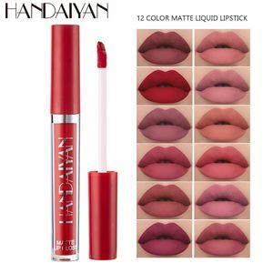 Dropshipping New arrival Handaiyan 12 color long lasting waterproof moisturizing matte Misty liquid lipstick makeup lip gloss