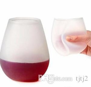 New Design Fashion Unbreakable clear Rubber Wine Glass silicone wine glass siliconeVogue Silicone Beer CupsGlass Drinkware for Camping H011