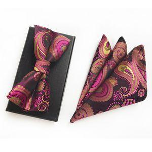 포켓 스퀘어 나비 2018 새로운 스타일 남자 보우 타이 세트 새로운 패션 많은 색깔 Bowtie 타월 Hankies Corbatas Hombre Cravat