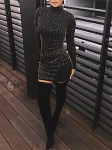 Donne sexy Abiti casual lucido di modo Paillettes Zipper Panelled progettista delle donne Bodycon Abiti casual femmine Abbigliamento