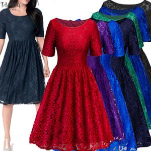 Parti formel de femmes dentelle vintage de mariage Eveningdress Ladies swing solide robe chaude Livraison gratuite