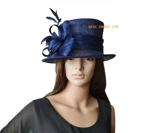 Wholesale Hats & Caps Hats, Scarves & Gloves Elegant NEW Navy blue Formal Dress womens hat Sinamay Hat Fascinator for Kentucky DerbyWeddingF