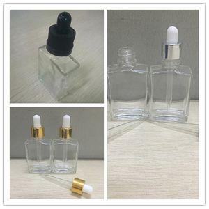 30 ml Garrafas De Vidro Vazio Quadrado de vidro transparente frasco de conta-gotas de óleo essencial frascos de 1 oz Com Tampa À Prova de Crianças Tamper Evident Cap