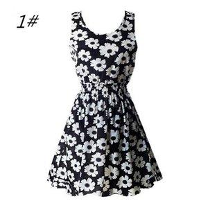 Spring new sleeveless O-neck Printed Chiffon Dress Medium Length female Bohemian style ladies dresses Casual Dresses