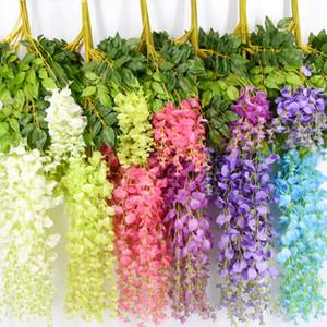 Seda artificial Wisteria Flor Moda Vides Colgando Ratán Novia Flores Guirnalda Home Garden Hotel Decoración de la boda TTA1626