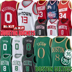 Russell Westbrook Kemba Walker Jersey Jayson James Harden Tatum Larry Bird Boston jerseyscélticoJersey HoustonCohete