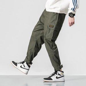 2020 Male Army Cargo Pants Men Multi-pocket Elastic Waist Design Harem Pant Street Punk Hip Hop Red Casual Trousers Joggers 5XL