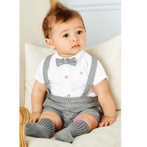 2019 Trajes New Baby Boy Summer Blazer Niño Blouse + Pants + tie 3 pedazos / set Sistemas del partido del traje de algodón niños Matrimonio Blazer para bodas