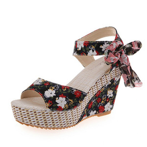 Women Sandals Summer Wedge High Heels for Ladies Bohiemia Style Floral Print Female Sandals Beach Height Increasing Shoes