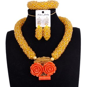 Women Party Jewellery Sets Gold Yellow & Coral Flowers Bridal Wedding Jewelry Necklace Sets One Layer Choker Beaded Costume Sets
