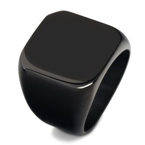 anneau des hommes en titane acier rétro carré plat carré brillant plein solide timbre anneau en acier de titane et de l'acier inoxydable des hommes américains r