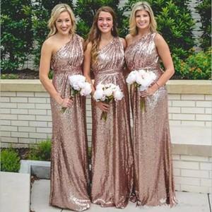 Country Rose d'oro paillettes abiti da sposa 2020 New Bling una spalla di una lunga serie Lunghezza Piano Plus Size domestica formale d'onore abiti 4625