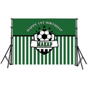 O costume do verde do aniversário do tema do futebol dos meninos listra o fundo para Backdrops personalizados Photocall profissional do clube das estrelas das crianças