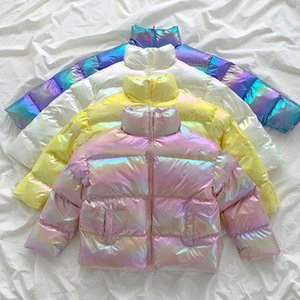 Inverno Jacket soprador Glossy For Women Neploe brilhante Laser Parka Mulheres Casual gola solta Down Jacket Streetwear Aqueça Parkas
