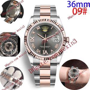 16 de lujo de color vestido de las mujeres Relojes 36mm elegante de acero inoxidable Rose relojes de oro de alta calidad de señora Rhinestone relojes automáticos