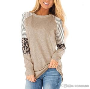 Womens Designer T-shirts Mode loose Pull à manches longues pour femmes T-shirts Les femmes Vêtements décontractés Leopard rayé lambrissé