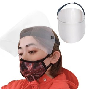 US Stock Workshop Cooking Cleaning Protective Face Shield Clear Visor Flip Up Transparent Mask Anti Splash Elastic Band Full Face Cover