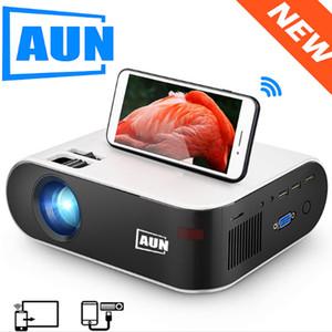 Aun Mini Projector W18، 2800 شمعة، 854x480P، عرض متزامن لاسلكي اختياري للهاتف، الصمام Proyector ل 1080P 3D Video Beamer