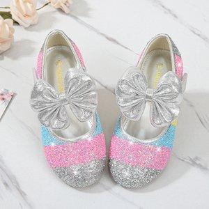 Kızlar Prenses Deri Ayakkabı Çocuklar Elbise Ayakkabı Boyut 24-37 D188 Dancing 2020 Moda ilmek Çocuk Prenses Pullarda Düz Topuklar