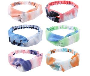 Moda Kadınlar Tie-boyalı Baskı Kafa Doğa Sporları Saç Bandı hairbands Kafa Bandı Çapraz Knot Elastik Headwrap Saç Aksesuarları D61606