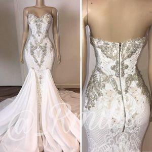 País Beading Vestidos de noiva sereia 2020 Backless Applique Lace Plus Size vestidos de noiva Bohemian vestido de casamento