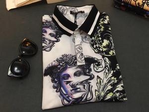 Moda Pol Hot Atacado Primavera de luxo italiana T-shirt T-shirt Polo High Street bordado Garter Medusa Roupas masculinas Flor de Homens
