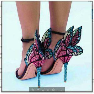 Strass aile de papillon pour les femmes Sandales Sophia Webster avec boucle cheville talon haut de mariage Chaussures robe de mariée