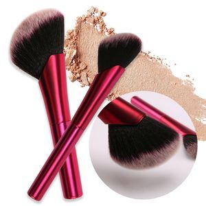 Pinceaux de maquillage inclinés rose rouge poignée en aluminium brosse lisse fondation contour contour cosmétiques pinceaux blush pinceau beauté outil gga2230