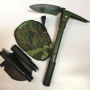 뜨거운 새로운 다기능 접는 캠핑 셔블 서바이벌 흙 받이 Dibble 피크 캠핑 도구 야외 비상 액세서리 WCW543