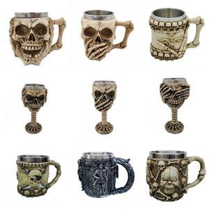 3D Kafatası Kupası Reçine Çift Paslanmaz Çelik Mug Bira Coffee Cup Cadılar Bayramı Hediye Mug Kafatası Kahve Mug