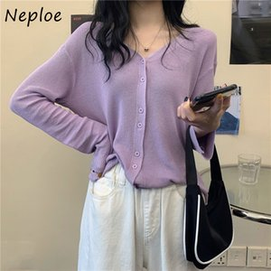 Neploe Knitted Blouses Women Fashion Single Breasted Long Sleeve Cardigans Shirts Loose Casual Thin Sunscreen Blusa Tops 1E026