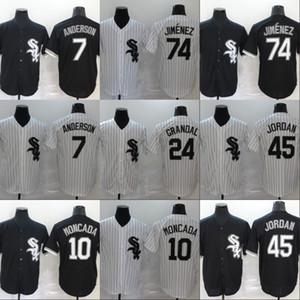 Homens Chicago Jersey 7 Tim Anderson 10 Yoan Moncada 24 Yasmani Grandal 45 Michael JD 74 Eloy Jimenez Tudo costurado Baseball Jerseys