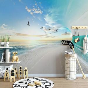 Drop Shipping personalizzato 3D Photo Wallpaper Sandy Beach Mare Cielo Natura Paesaggio grandi murales sfondo Papier Peint murale 3D