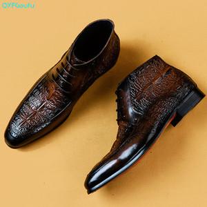 QYFCIOUFU Мужчины платья из натуральной кожи коровы Boots Основных Handmade Мода Шнуровка лодыжки мужской Остроконечных Toe платья оксфорды обувь