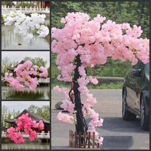 1M uzun Kiraz Çiçekleri Yapay Çiçekler Dallar Düğün Arch Dekorasyon Şeftali Şube Arkaplan Duvar Asma Sahte Çiçek