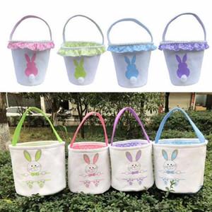 Conejo de Pascua Cesta lienzo Cubos conejito de cestas de caramelo bolsa de asas del huevo de Pascua Bolsas niños y regalo Organizador 16 diseños DW4974