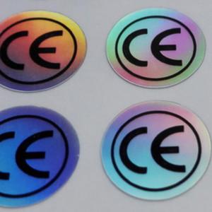 Pcs / set 50000 autocollants étiquette CE, couleur unie changeant effet hologramme pour les produits du certificat européen, article n ° FA01