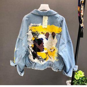 Yocalor 2019 Patrón pintado a mano Otoño Invierno Chic Letras Imprimir capa chaqueta vaquera Moda Bolsillos BF Outwear