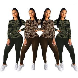 Casual Tuta Moda a maniche lunghe maglietta solido sottile colore pantaloni Famale insieme a due pezzi Womens Leopard Print