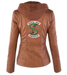 Riverdale Riverdale Southside Serpents nero giacca di pelle marrone PU Donne Serpents Streetwear Pelle Marca Coat