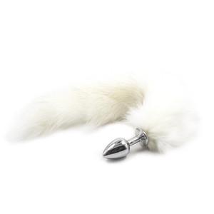 1PC puro bianco coda di volpe Butt Metal Plug 35cm lungo anale Plug giocattoli del sesso animale RolePlay Cosplay prodotti del sesso per uomo donna gay
