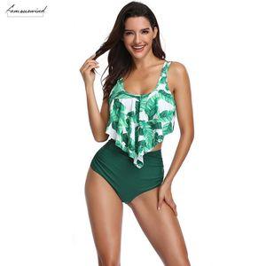 2020 New Swimsuit Women Two Piece Bathing Suit Top Summer Ruffled Sleeveless High Waisted Bikini Set Women 2 Piece Swimwear